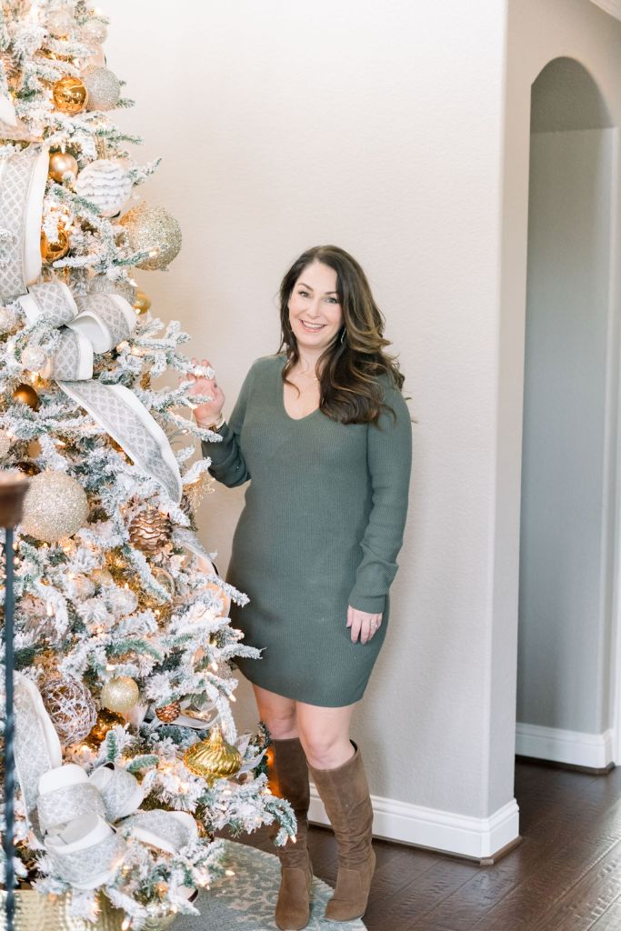 Target green sweater dress and cognac boots for the holidays