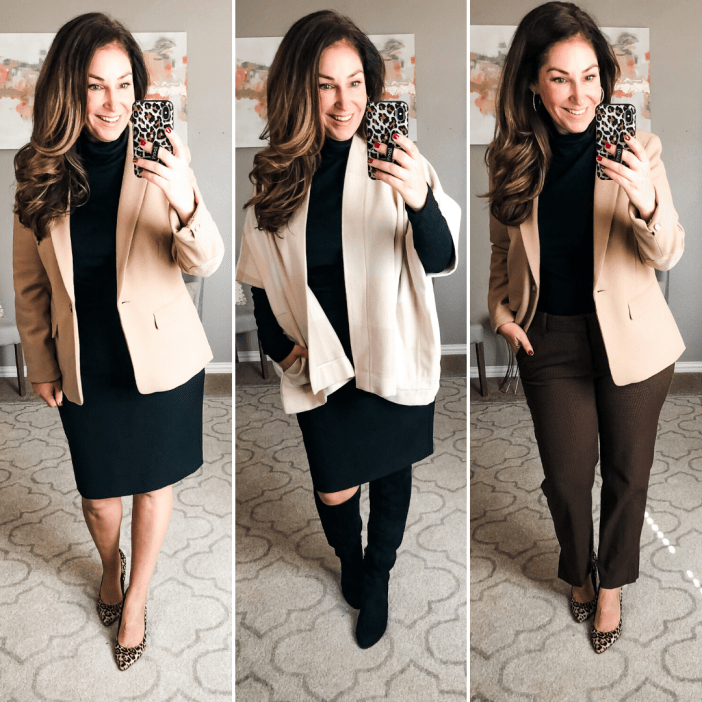 This top comes from the winter workwear capsule where I showed all neutral pieces. For the entire post click here Fit Tips: Turtleneck runs small, sized up to L
