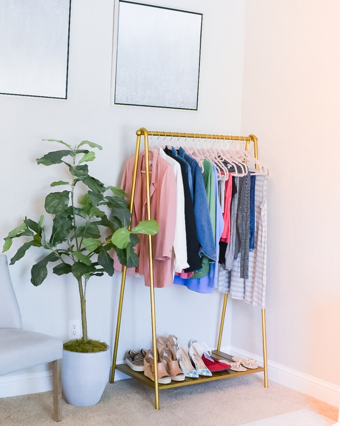 Gold Clothing Rack // Blogger Office // Home office re-do