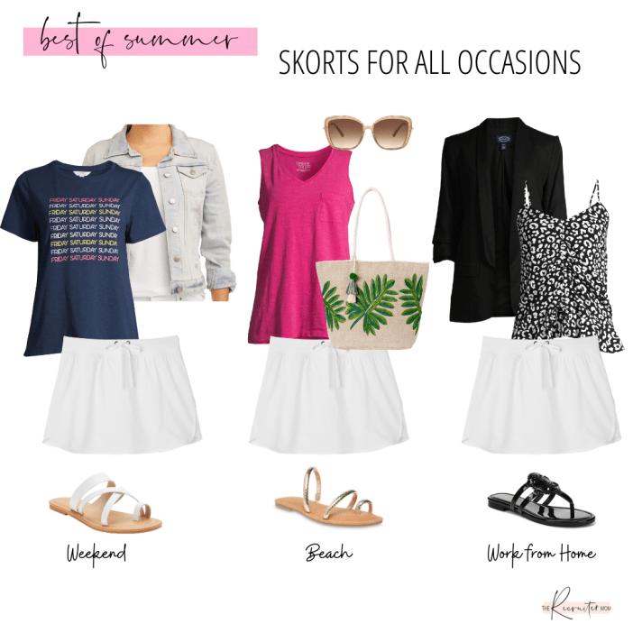 White Skort Styled 3 ways for Summer 2020: Walmart Fashion