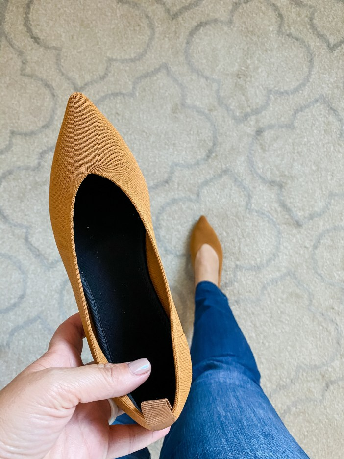 Mustard pointed toe flat from Amazon // Rothy's dupe