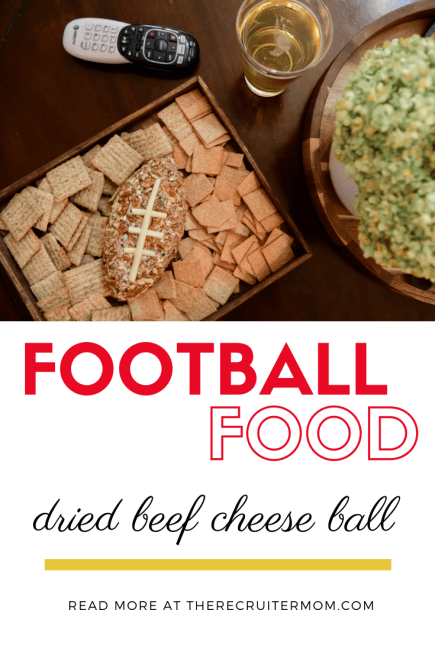 A classic and easy Cheese Ball Recipe using Dried Beef. This yummy appetizer is perfect for any party or game day! It's a fun snack for a crowd! #cheeseball #cheese #appetizer #driedbeef #simpleappetizer #tailgate #partyfood