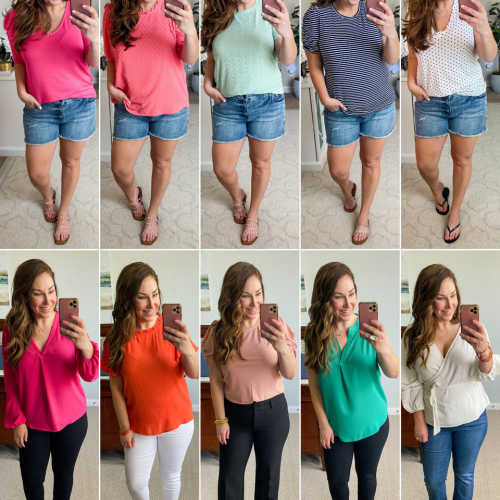10 outfits: Spring Tops for work or play