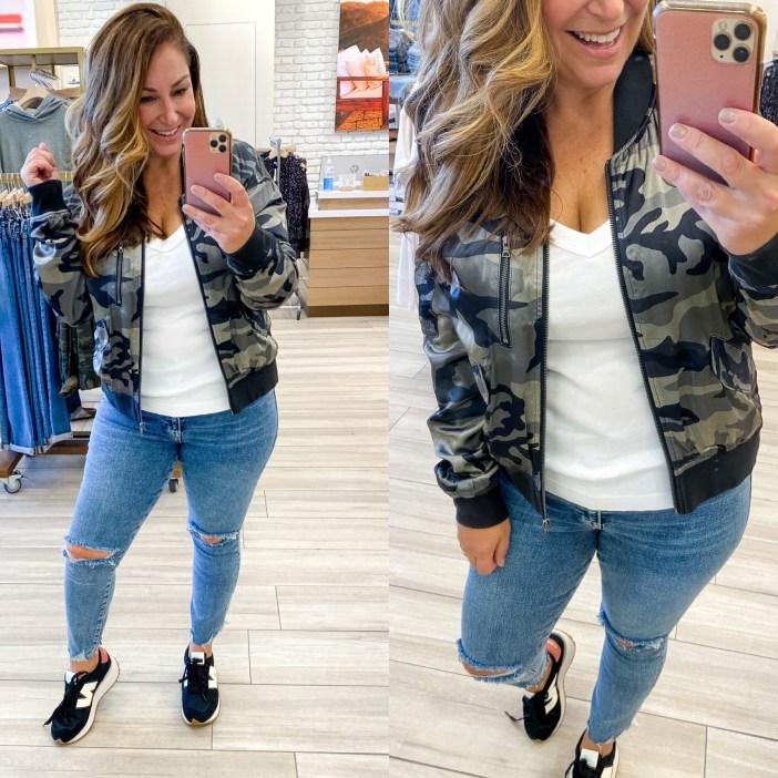 #evereve #everevefalllook #fallfashion #winterfashion #camobomber #jeans #affordablefashion #affordablefallfashion #fall #winter #tryon