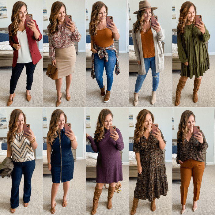 10 Outfits for Early Fall 2021 #blazer #falldresses #booties #fallboots #fallworkwear #loafers #womensclothing
