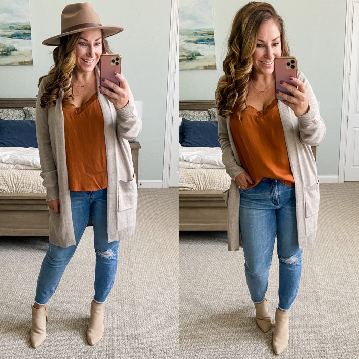Burnt orange cami and fall hat #womenscardigan #booties #falloutfits #womensclothing