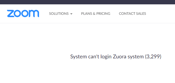 Zoom login screen shows system is down