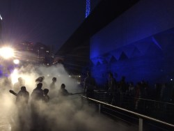 Misty entrance to the NGV sculpture garden
