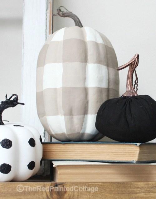 DIY Painted Buffalo Check Pumpkin