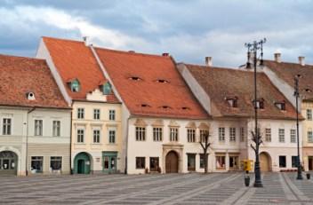 Old houses in Sibiu's main square - Piata Mare
