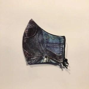 Mondkapje #Jeans print blauw