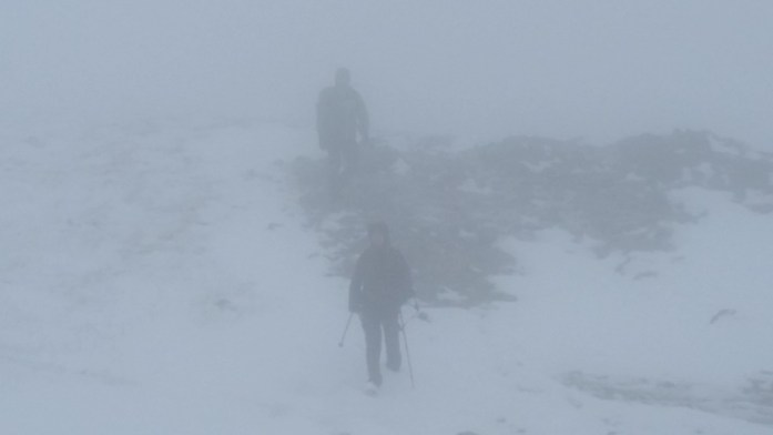 Visibility was limited in the upper slopes