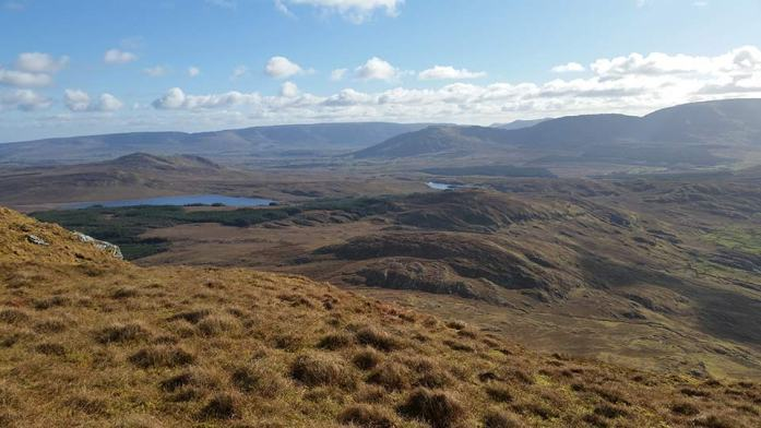 Looking southeast from the Reek, towards the Partry Mountains, with Lough na Corra in the foreground