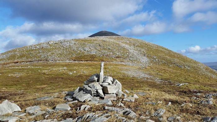 A cairn in memory of Paddy Hopkins, who led local opposition to the mining, built by his daughter Fiona and her family