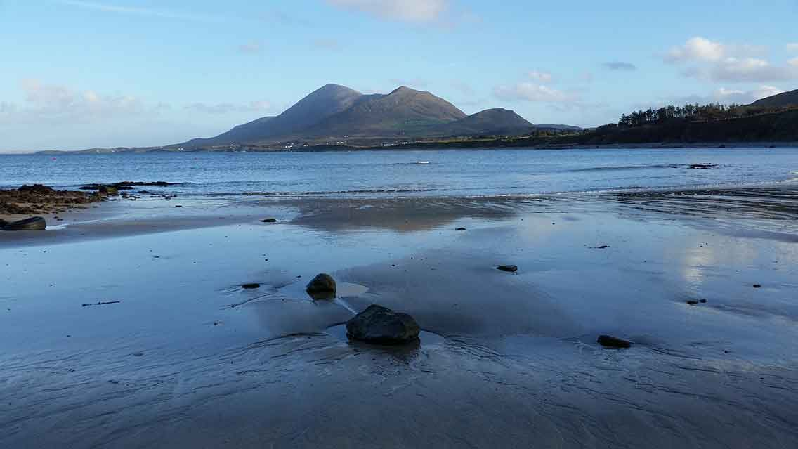 Wild Atlantic Way looking towards Croagh Patrick in County Mayo Ireland