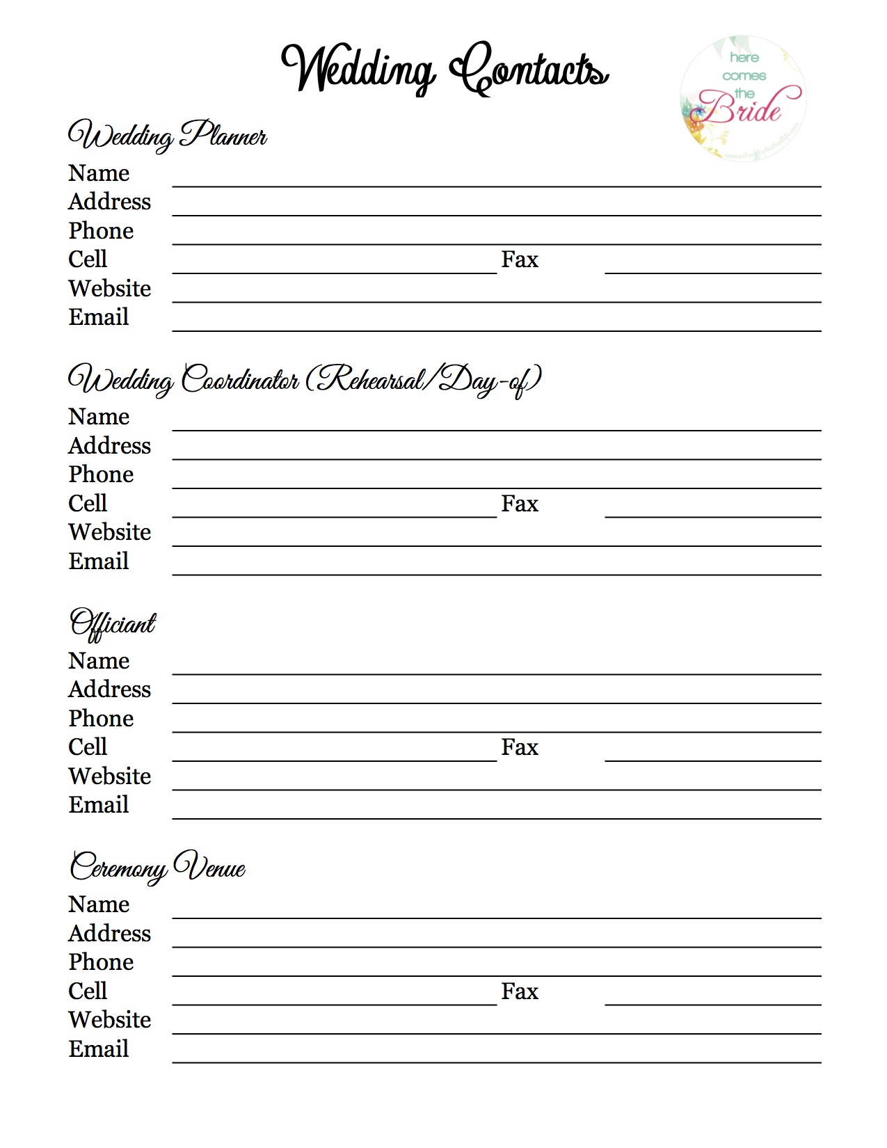Wedding Planner With Free Printables Refurbished