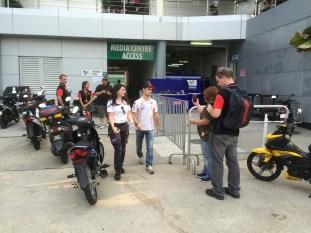 Dani Pedroza leaves after press conference