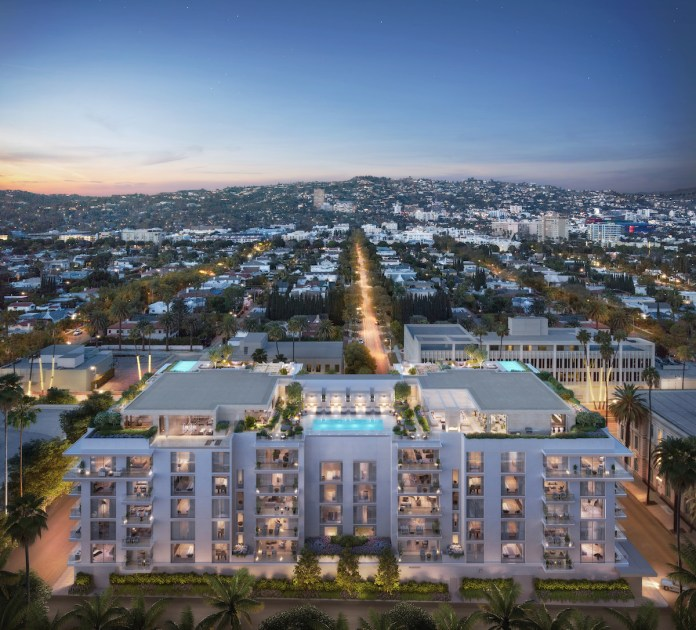 SHVO, Mandarin Oriental Residences, Beverly Hills, Deutsche Finance America, Golden Triangle, Palm Courtyard