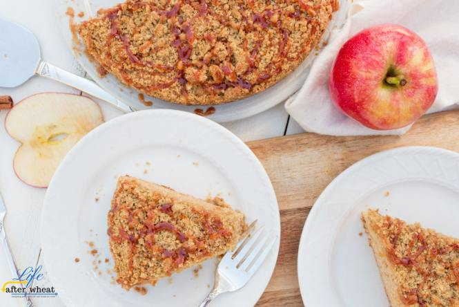 This gluten free coffee cake is bursting with Fall flavors! A whole grain apple cider cake infused with cinnamon and nutmeg is generously topped with streusel and then drizzled with a reduced apple cider glaze. The glaze brings a flavor you've never had before!