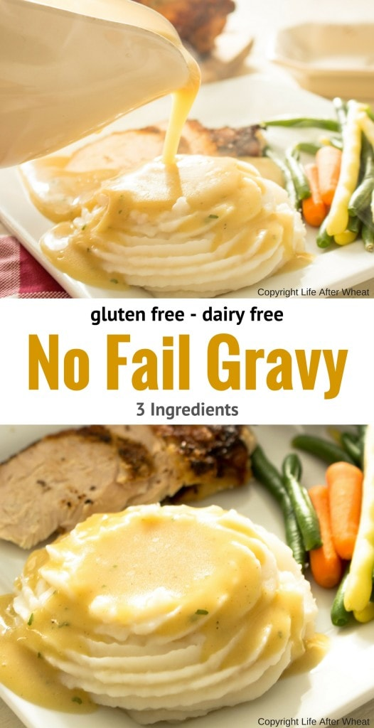 An easy, no fail gluten free gravy mix that's also dairy free! So creamy and flavorful that no one will ever guess it's gluten free. ThereIsLifeAfterWheat.com #GlutenFree #GlutenFreeGravy #GlutenFreeRecipes