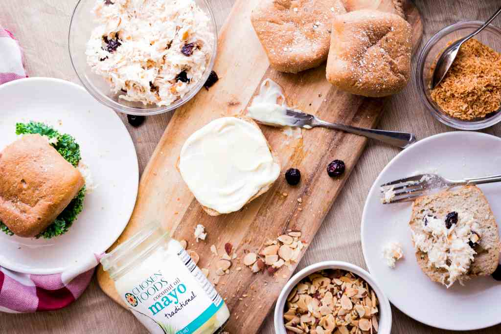 Dress up your chicken salad with Coconut rice and healthy coconut oil mayo!