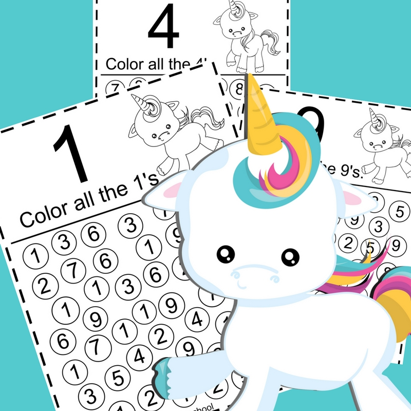 Printable Unicorn Color The Numbers Pack The Relaxed