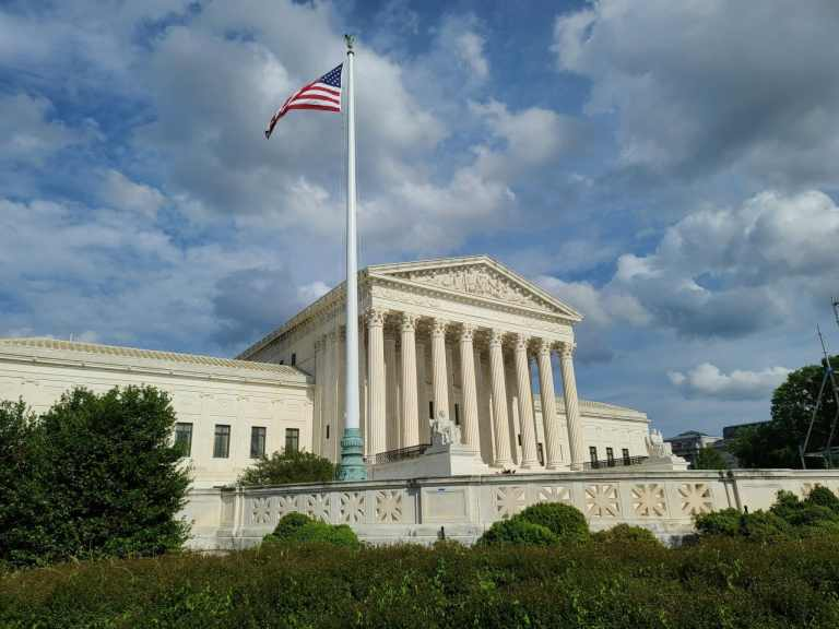 The Supreme Court of the United States and the American flag
