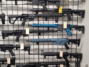 AR-15s on display at a gun store in Virginia