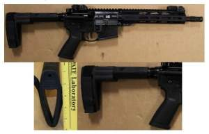 A stabilizing pistol brace attached to an AR-15