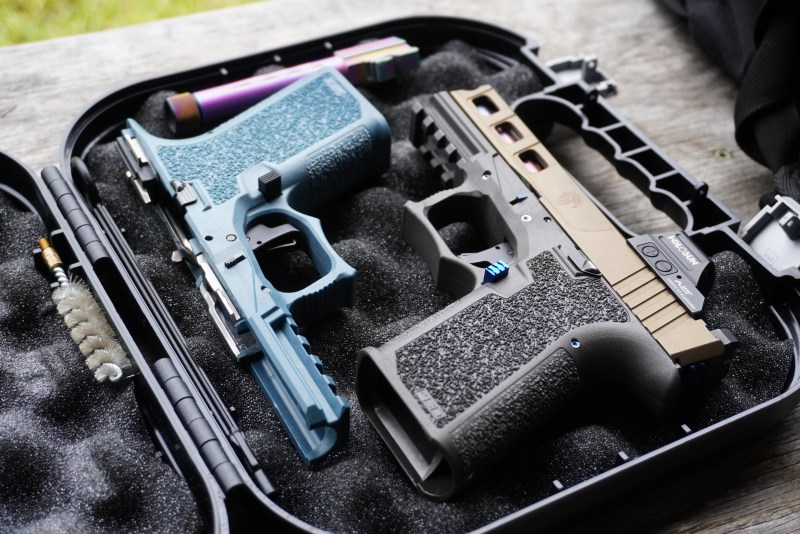 A pair of finished Polymer80 frames