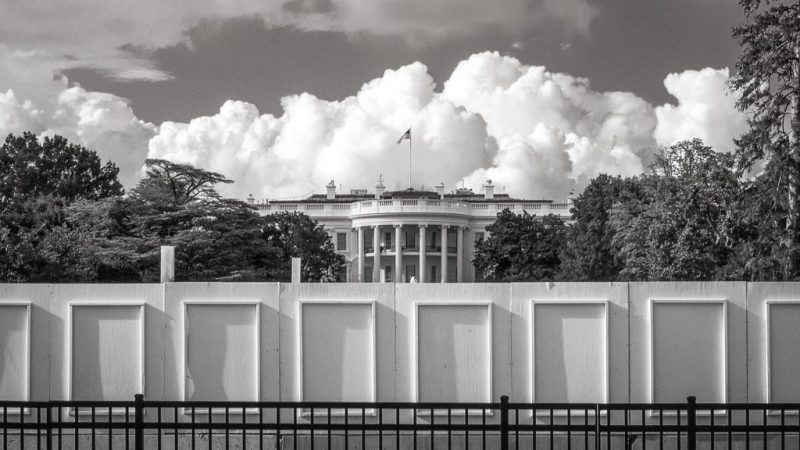 """The People's House... The White House, complete with fencing, a """"do not enter"""" sign and a wall. Walled off."""