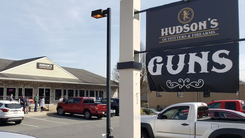 A sign advertising guns for sale outside a store in Pottstown, Pennsylvania on March 18, 2020