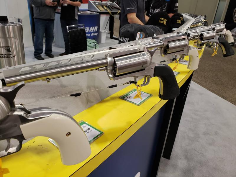 Revolvers on display at an industry trade show