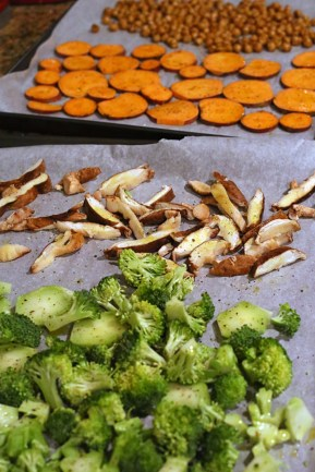 Ingredients for Roasted Broccoli, Sweet Potato, & Chickpea Salad