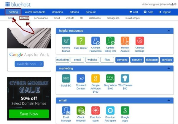 Bluehost Dashboard | How to Start a Successful WordPress Blog (Ultimate Guide)