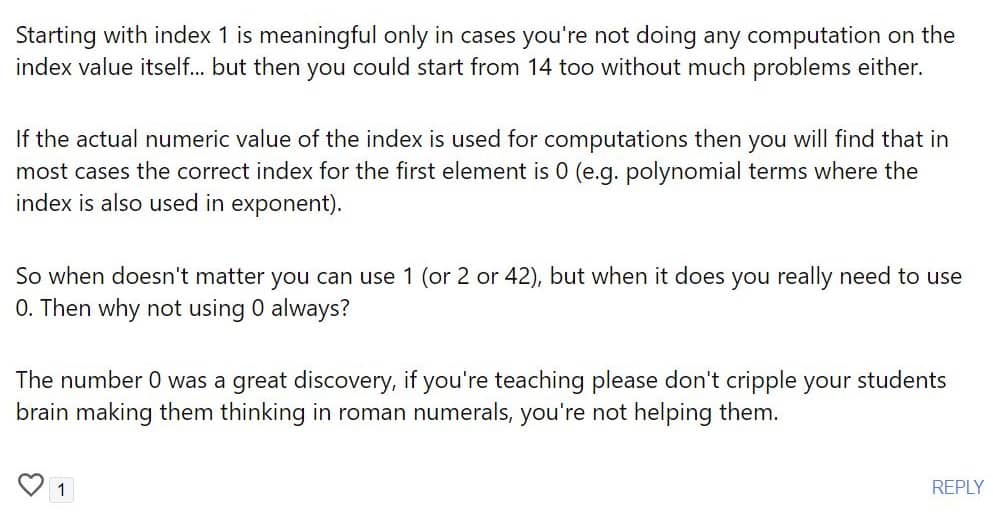 Indexing from Zero: Part 1