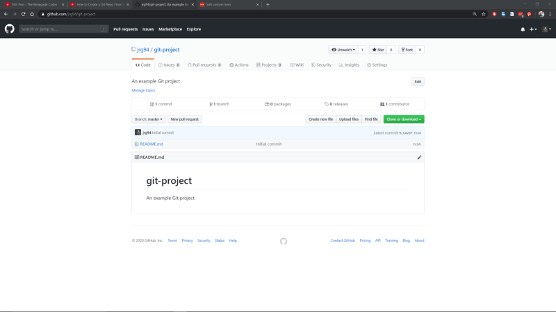 GitHub Website New Project Homepage