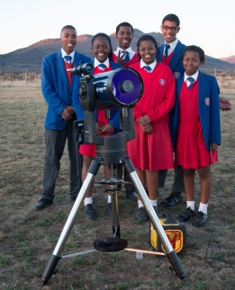 Enjoying some star gazing were, from left, Get Ahead pupils Babalo Bekebu, Olo-Thando Kalolo, Lilitha Ngoqo, Uthandile Booi, Christopher Bartis and Buchule Cekeshe Picture: BRENT LUCK