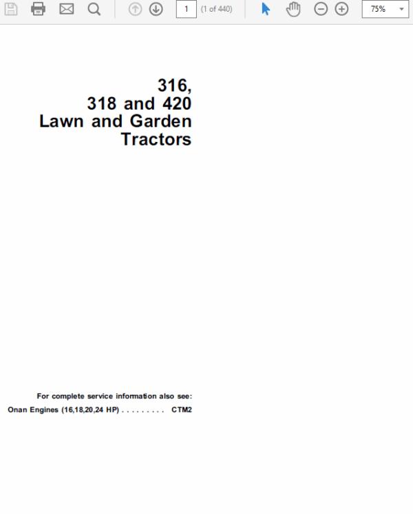 john deere 316 318 420 lawn and garden tractors service