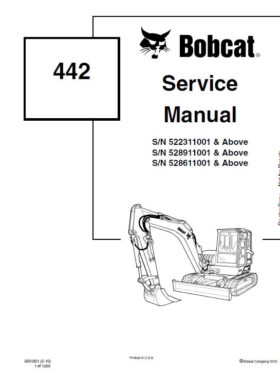Bobcat 442 Excavator Repair Service Manual