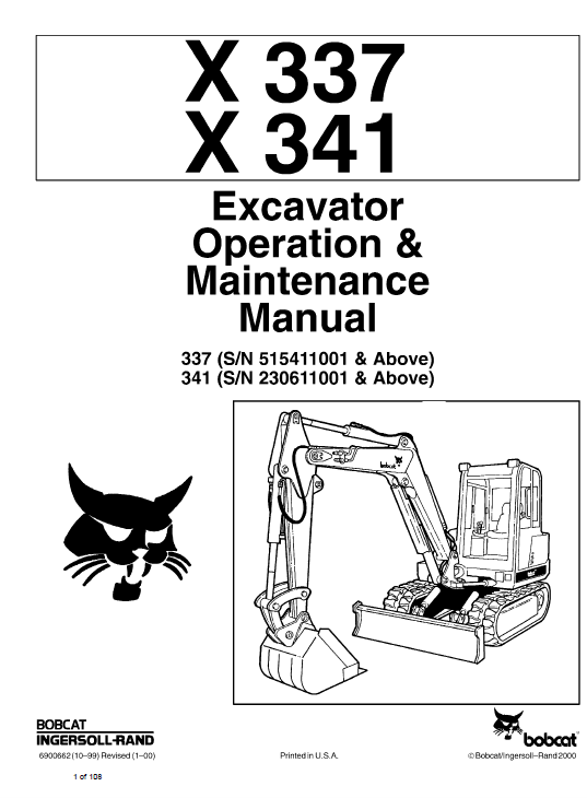 Bobcat X337 and X341 Excavator Service Manual