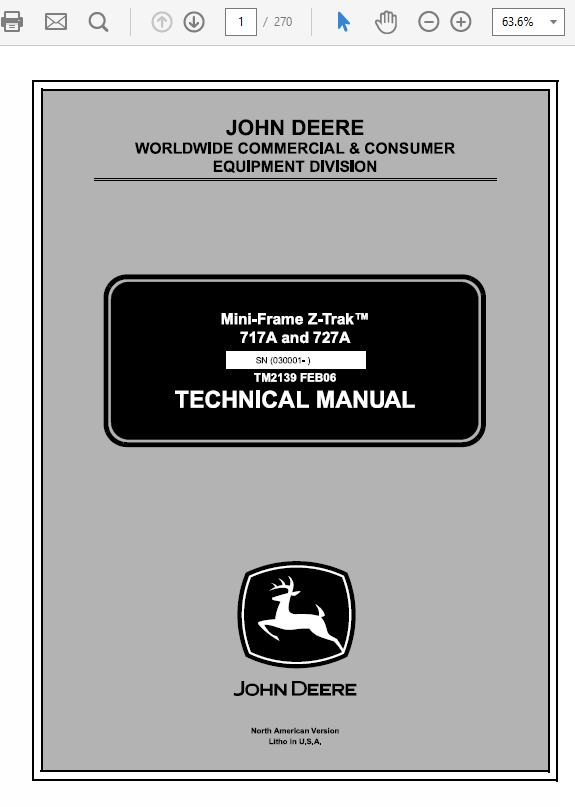 John Deere 717a Parts : deere, parts, Deere, 717A,, ZTrak, Technical, Service, Manual
