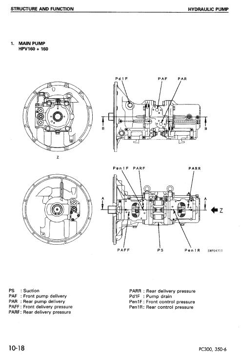 Komatsu PC300-6, PC300LC-6, PC350-6, PC350LC-6 Excavator