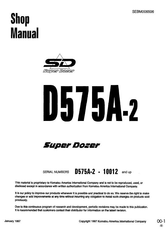 Komatsu D575A-2 Dozer Service Manual