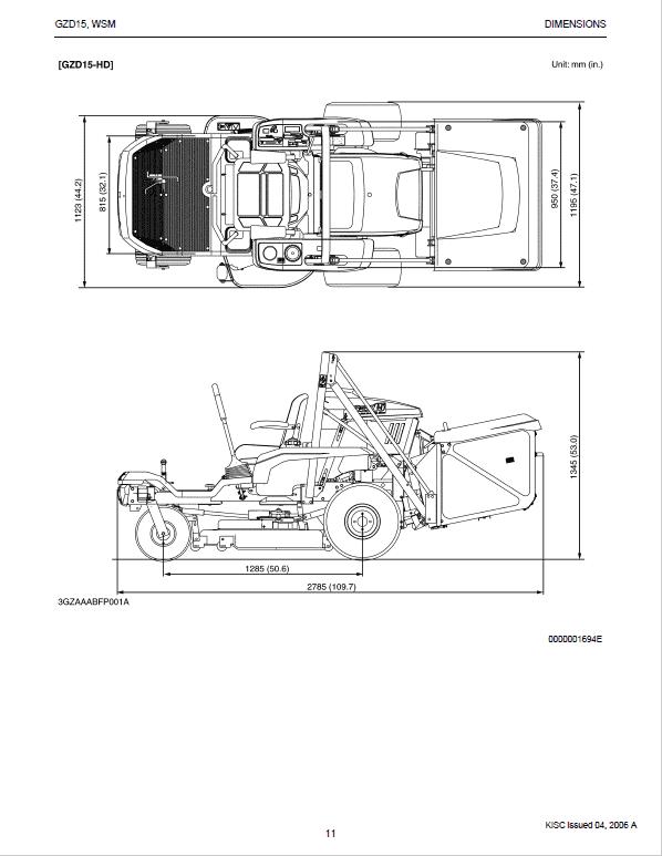 Kubota Ride on Mower GZD15-LD GZD15-HD GZD21-HD Operators