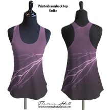 A sleevless top that looks like a gym style. Colour is in purple hues with flashes of lightning across from right to left. The pattern is on the front and back sides of the garment.