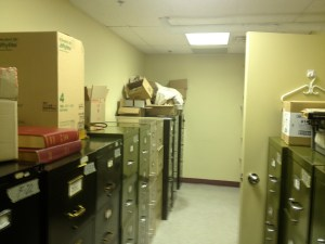 "the actual ""archive"" consists of these metal filing cabinets; none of the information has been digitized."
