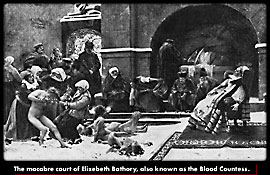 A painting of the macacre court of Elizabeth bathory also known as the Blood Countess
