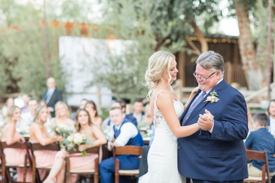 Father daughter first dance summer wedding photography in Temecula by Theresa bridget photogrpahy