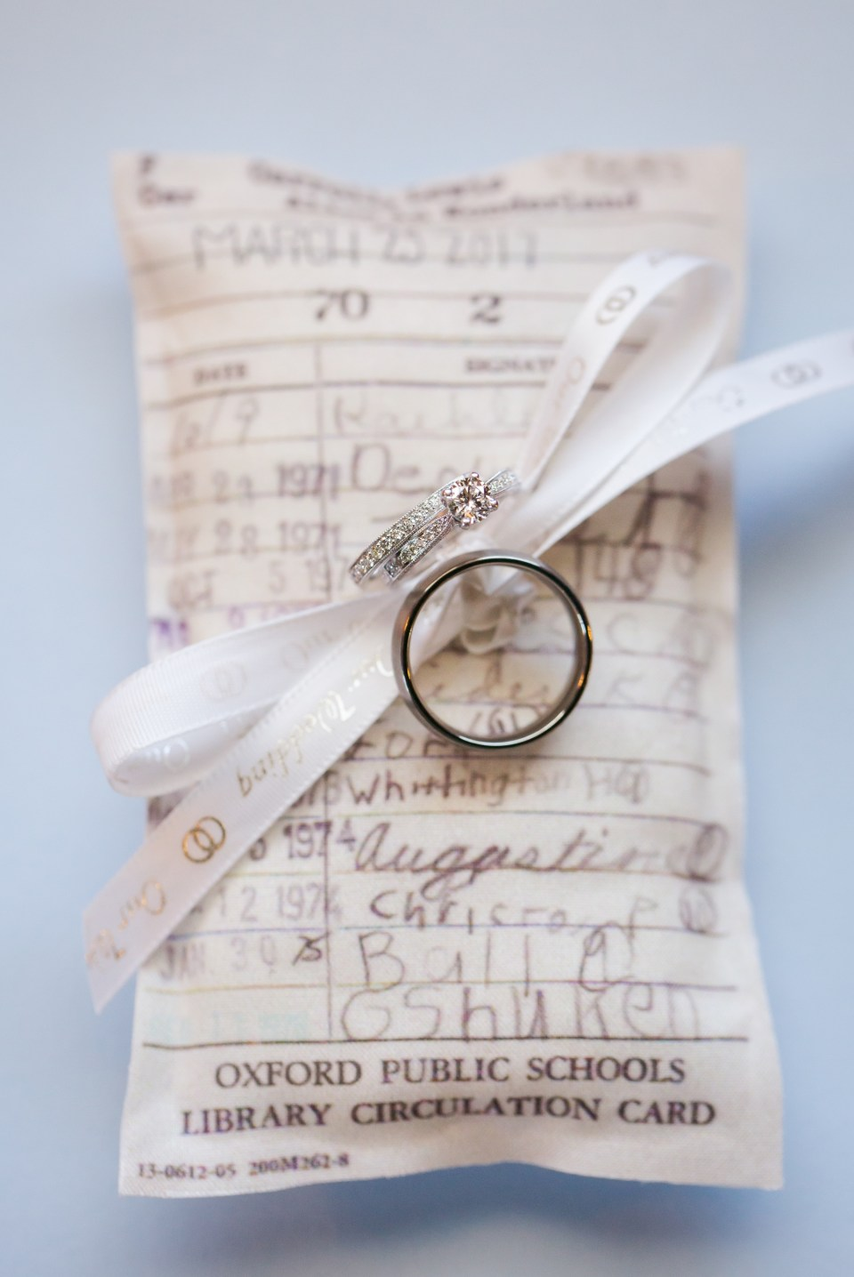 Custom library card ring pillow wedding photo
